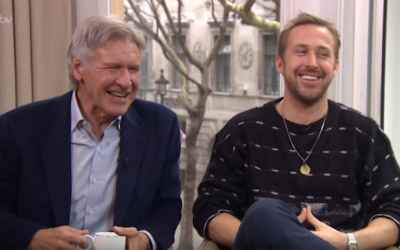 Harrison Ford and Ryan Gosling Can't Stop Laughing During Interview